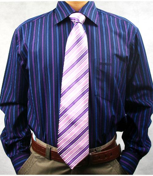 luolika 深蓝色 紫色条纹商务休闲衬衫 581-2