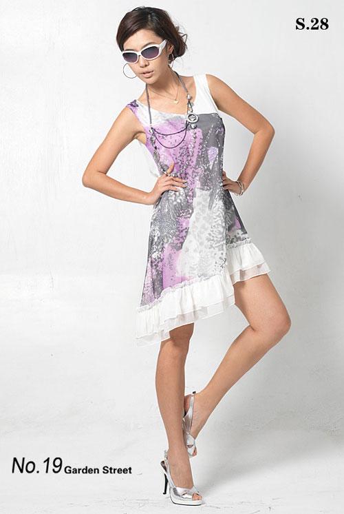 韩版女装花园街19号抽象丛林写意天丝背心裙s2892226