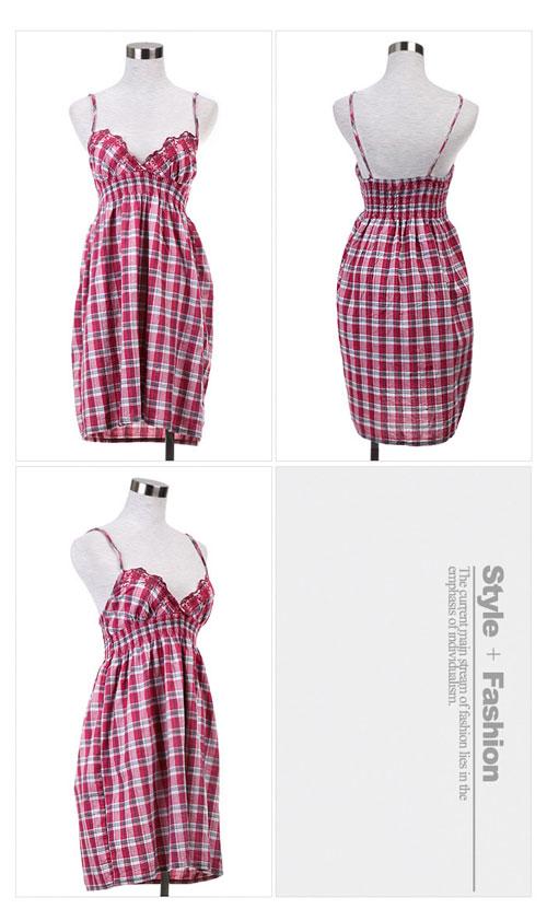h&m 格子可爱吊带连衣裙,经典明快的的小格纹,带给你整个夏天都清爽