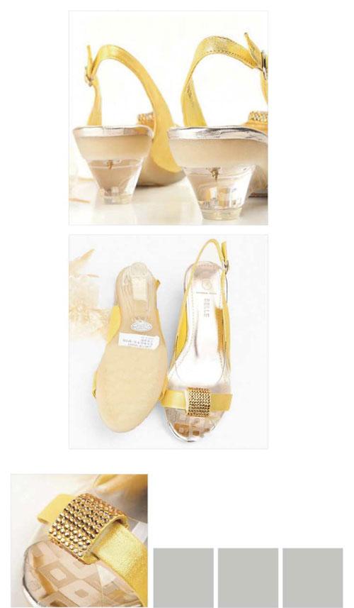 皮/透明胶片女凉鞋